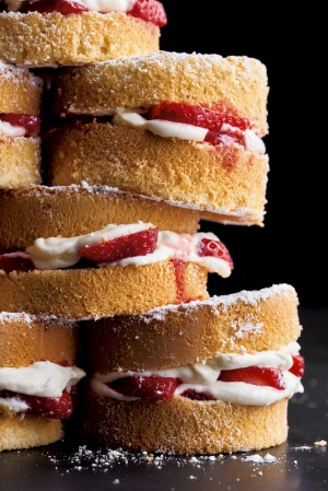 Stacks on: Victoria sponges sandwiched with strawberries and white chocolate cream.