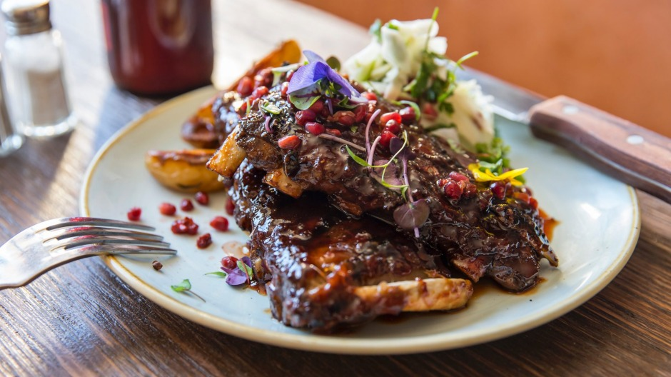 Pork ribs with chilli and plum glaze.