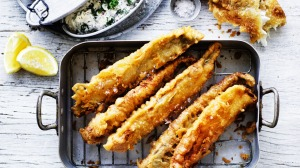 Fried whiting with beer batter.
