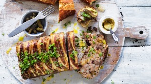 Jill Dupleix's pork belly, pistachio and cranberry terrine.