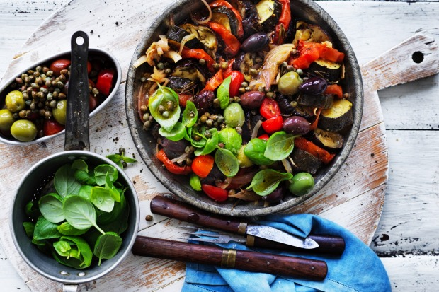 Ratatouille salad with olives and basil <a ...