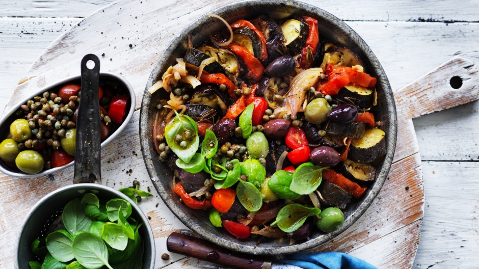 Jill Dupleix's Ratatouille salad with olives and basil.