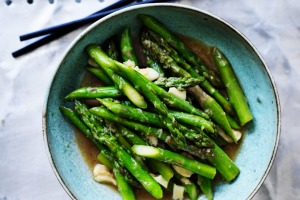Kylie Kwong's Stir-fried asparagus with garlic.