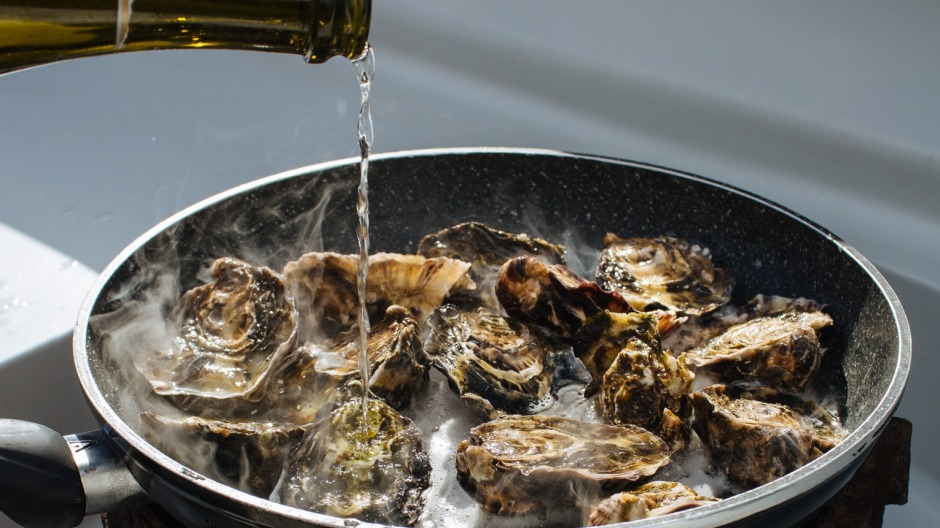 Oysters steamed in Tasmanian sparkling.