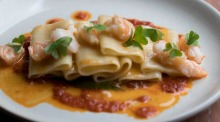 Welcome to the fold: Paccheri pasta with prawns served at Osteria Ilaria.