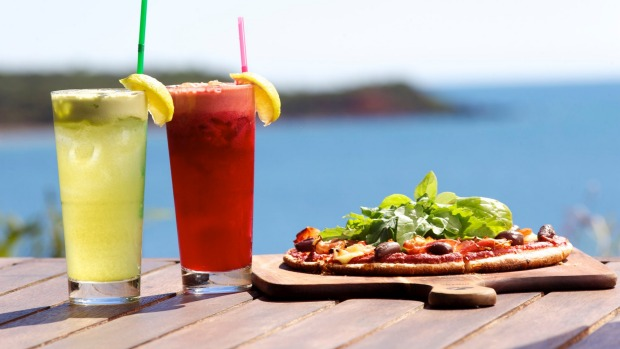 Fresh juices and pizza at Whale Song Cafe.