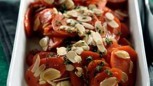 Honey glazed carrots with flaked almonds and thyme.