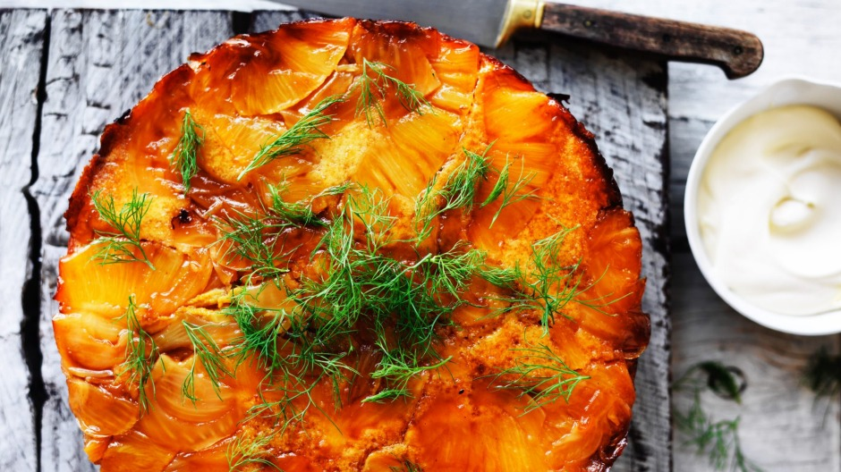 Pineapple and Fennel upside down cake.