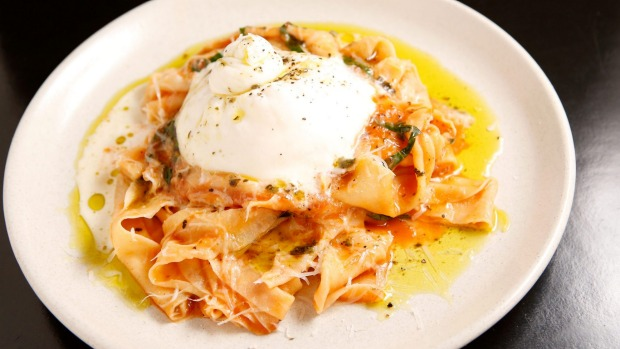 Pappardelle with tomato sugo and fresh mozzarella.
