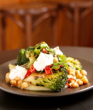 Broccoli with chickpeas and labna at Little Andorra in Carlton.