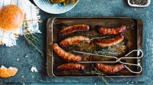 Cooking sausages in the oven means they're less likely to split.