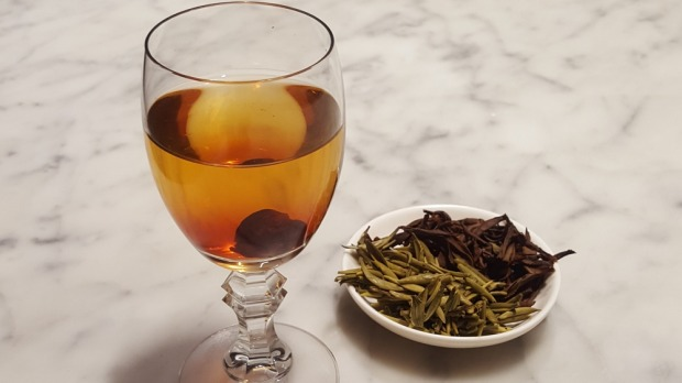 Serving tea in a wine or sherry glass is 'an elegant way to drink tea', Stacey says.
