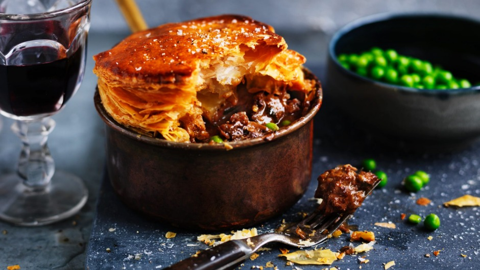 Neil Perry's beef and pea pot pie with a puff pastry lid.