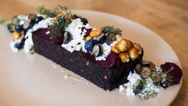 Beetroot bread with beetroot puree, buttermilk curd, blueberries and dill.