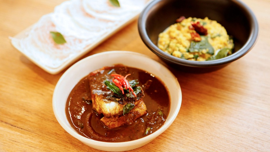 String Hoppers, barramundi with tamarind, and red lentil dhal at Mrs Hopper in St Kilda.