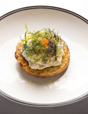 Crab crumpets at the Mayfair in Melbourne.