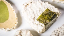 O-no-giri dessert with green tea gelato and pistachio mousse dipped in rice bubbles and white chocolate.