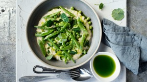 Mint oil and nasturtium leaves enliven a risotto, perfect for spring.