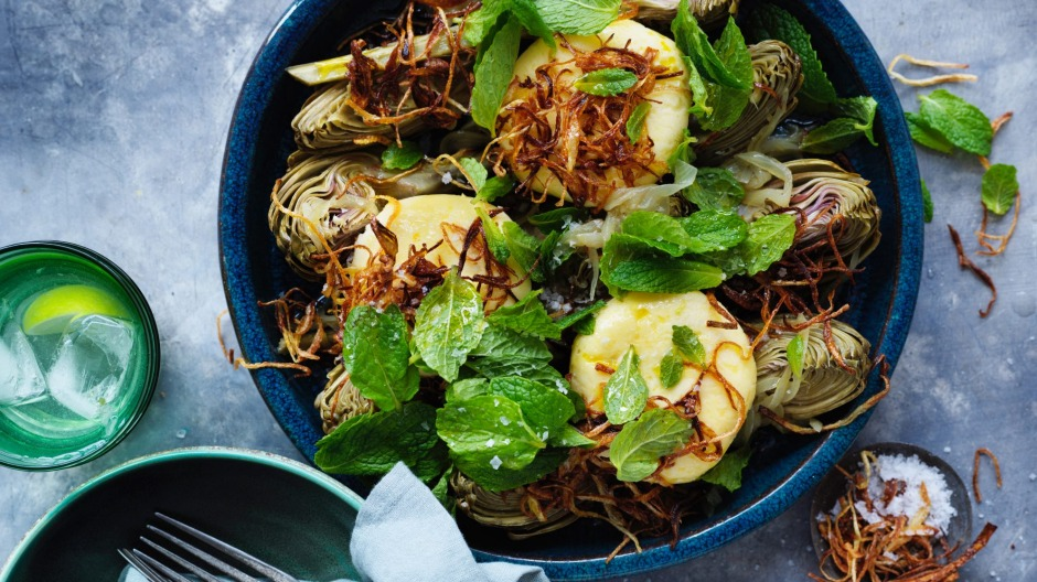 Goat's cheese dumplings with braised artichokes.