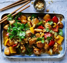 Chicken with cashew nuts.