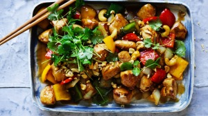 Chicken stir-fry with colourful capsicums and cashew nuts.