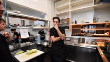 Ben Shewry creates new dishes in the kitchen of his restaurant Attica in Ripponlea, Melbourne.