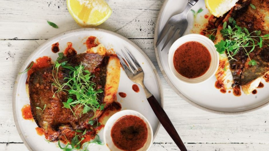 Adam Liaw's pan-fried John Dory with smoked paprika butter.
