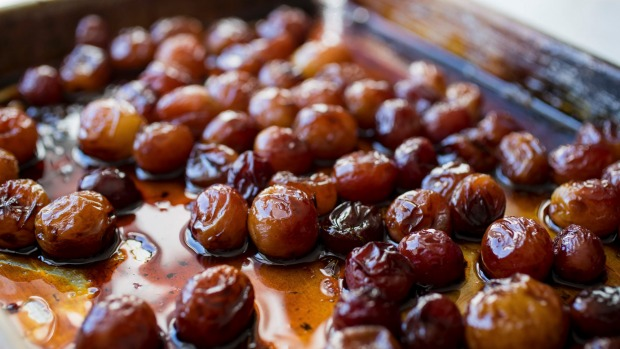 Roasting grapes in wine brings out all the flavours of the fruit.