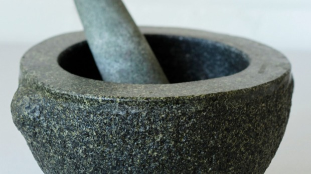 'A pestle and mortar is my sturdy, stalwart friend.'