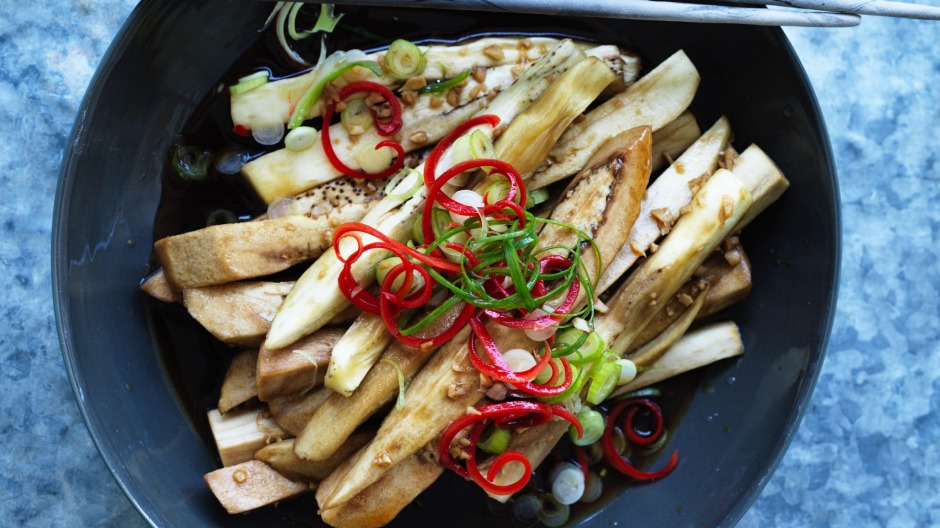Steamed eggplant with chilli and garlic.