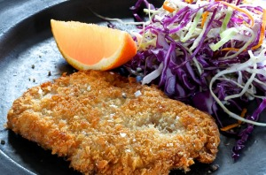 Jill Dupleix's duck schnitzel and slaw.