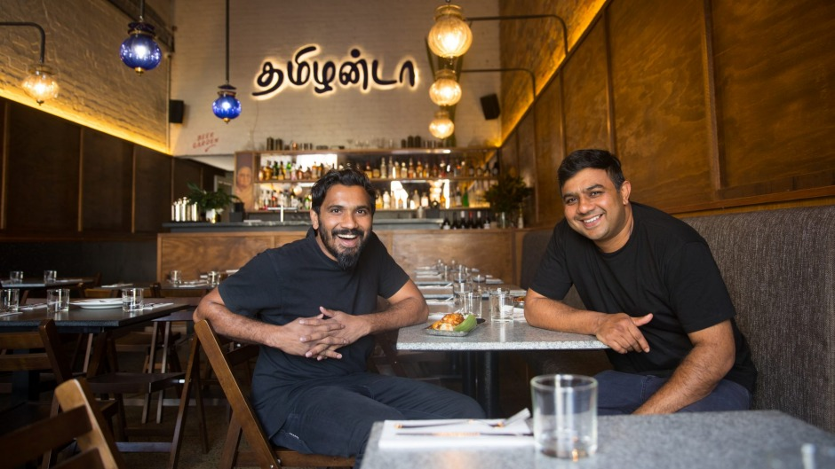 The Madras Brothers - Rishi and Magesh Venkatachalam - inside their restaurant.