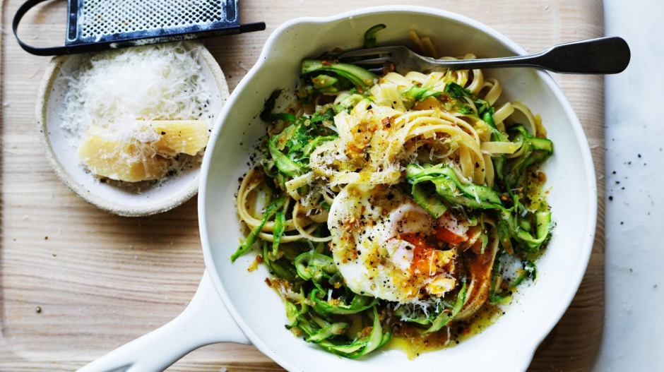 Put an egg on it: Adam Liaw's easy asparagus pasta.