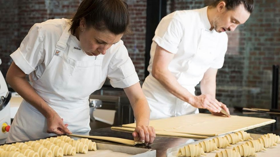 Kate and Cam Reid making croissants at Lune's Fitzroy flagship.