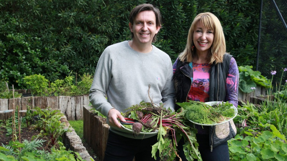 Maeve O'Meara with Andrew McConnell, who treasures the time he spends in his kitchen garden.