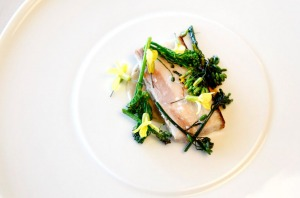 Butter-poached pork belly, hay and broccoli.
