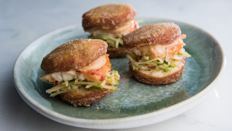 Sweet and savoury: mini doughnuts filled with rock lobster, tom yum mayonnaise and sweetcorn and lemongrass salt.