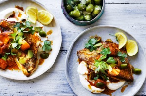 Neil Perry's snapper with spiced sweet potato and yoghurt
