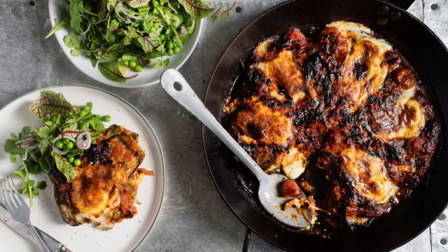 Three Blue Ducks' eggplant parmigiana with smoked mozzarella recipe.