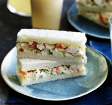 Neil Perry's white peach cocktails with lobster sandwiches.