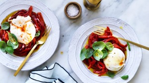 Burrata with basil and capsicum salad.