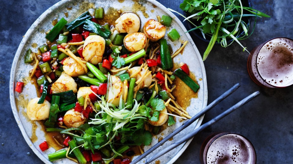 Neil Perry's scallop stir-fry.