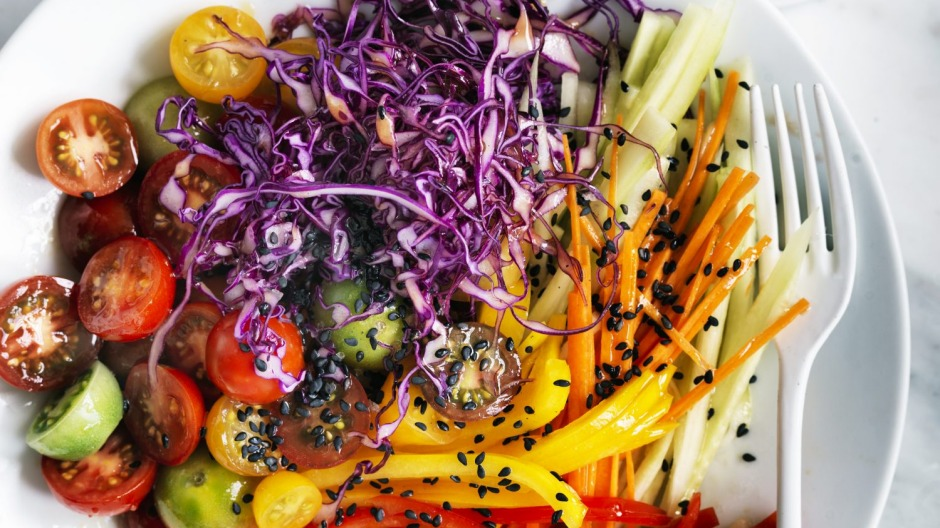 Colourful and healthy: Adam Liaw's rainbow salad.