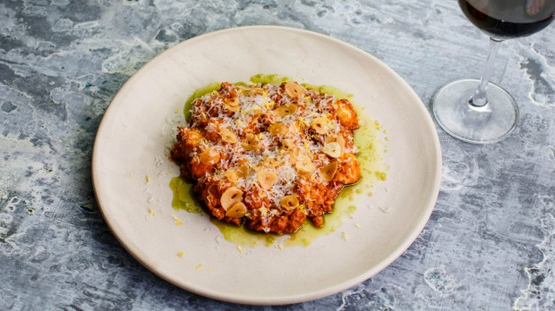 Gnocchi alla bolognese with gremolata and parmesan at Brunetti.