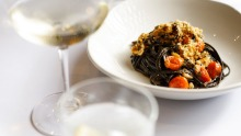 Squid ink linguine at Italian and Sons.