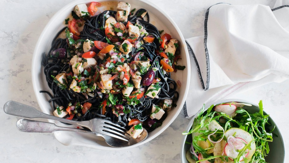 The Blue Ducks' dramatic black pasta dish is flavour-packed.