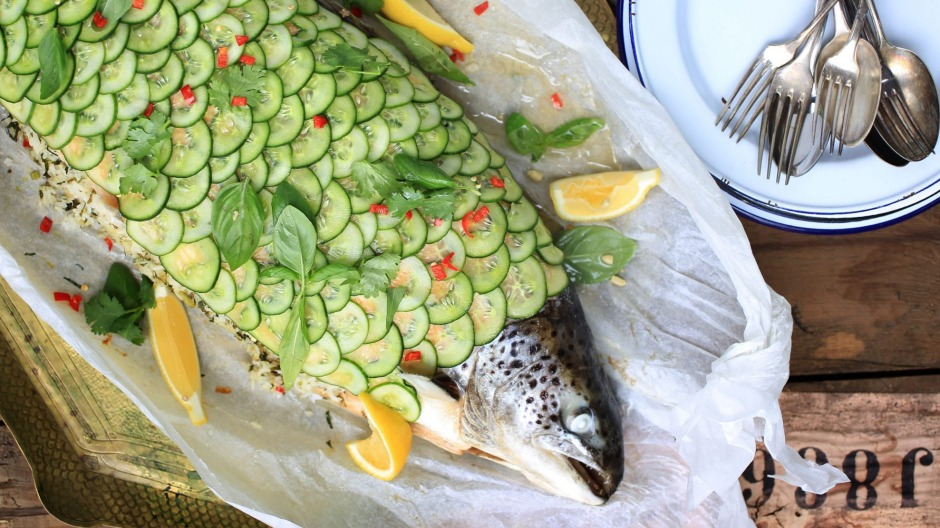 Fab fish: With its dramatic cucumber 'scales', this is no ordinary salmon.