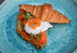 Croissant with trout.