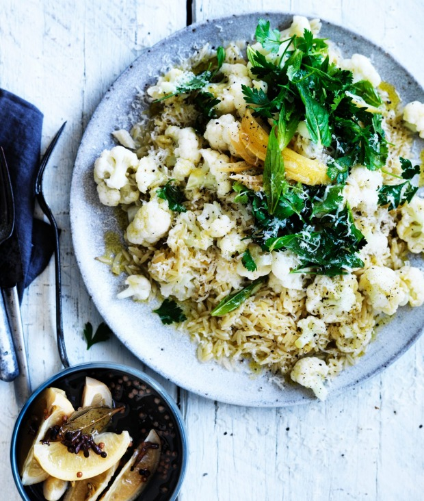 Risoni with cauliflower and preserved lemon.
