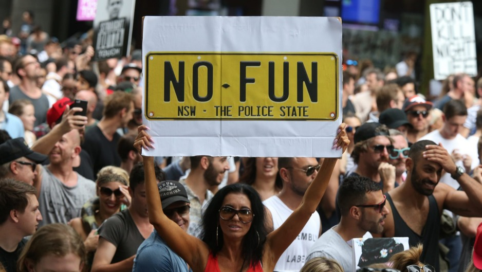 No fun: A Keep Sydney Open rally in 2016.